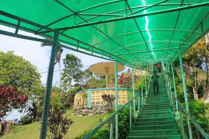 The covered staircase leading to the viewdeck, sitting on top of one of the hills