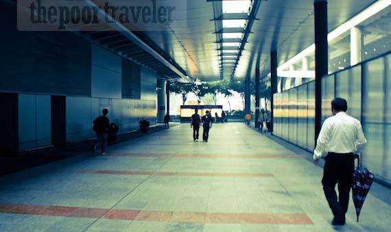 The way out of Hong Kong International Airport