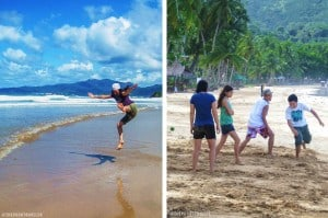 A tourist jumping for joy (L) and that's me playing patintero (R)
