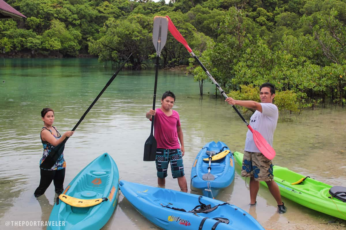 Ready to kayak at Moray Lagoon