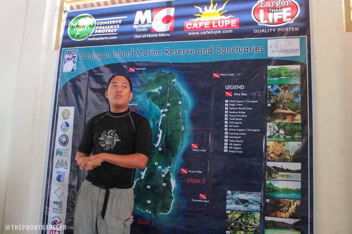 Benj Casipe, Island Manager of Danjugan, giving us pre-briefing