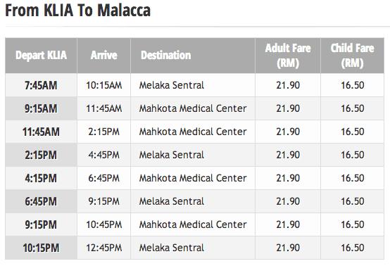 kuala lumpur airport to malacca bus