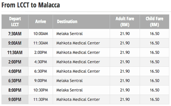 lcct to malacca bus