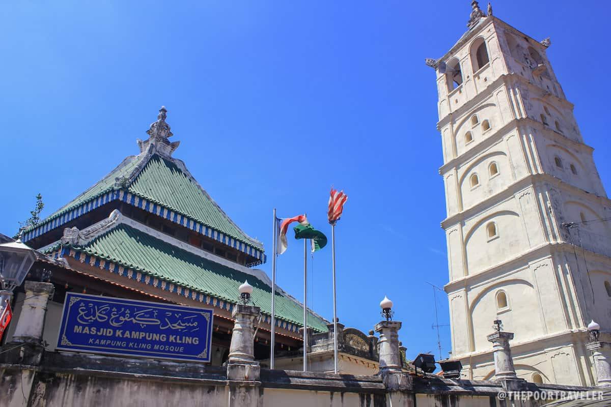 Kampung Kling Mosque gate at Harmony Street and the pagoda-like masonry minaret