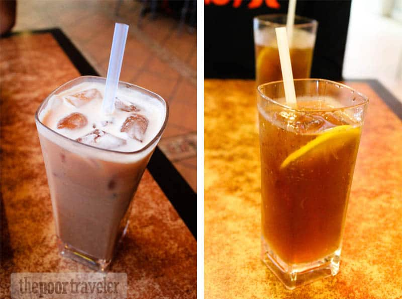 Teh tarik and lemon iced tea