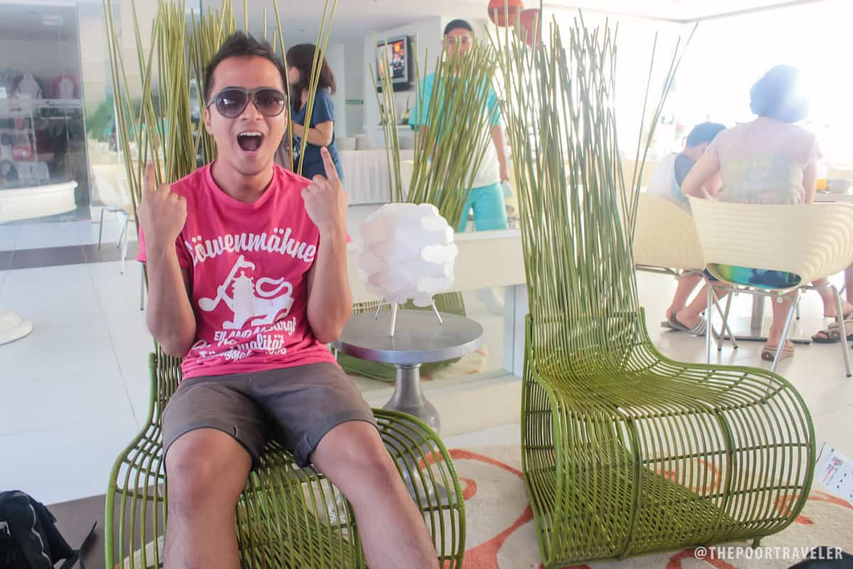 My friend Andre on a Cobonpue chair