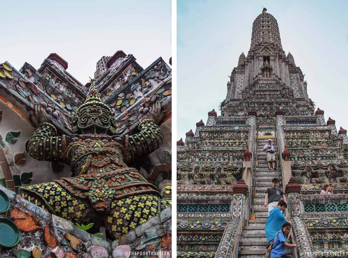 A yaksha and the 70m spire of Wat Arun