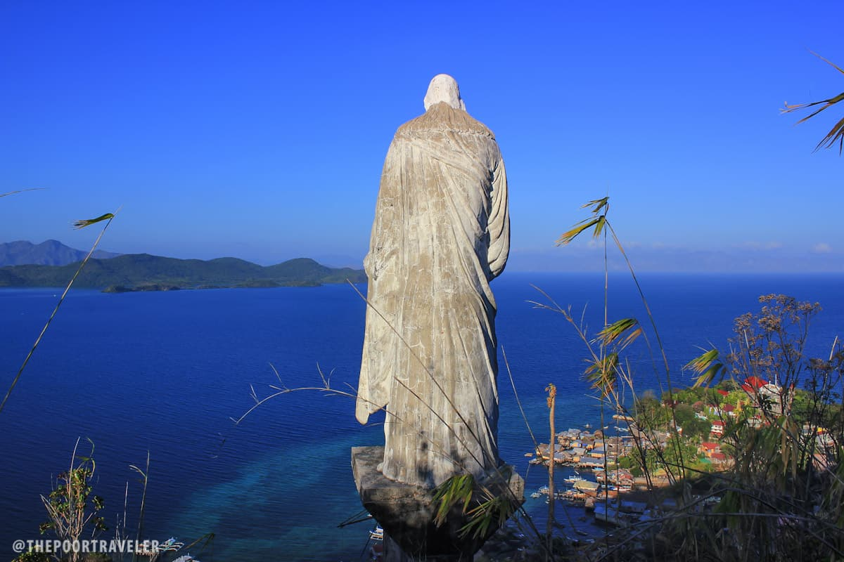 A Jesus Christ the Redeemer statue at Aguila viewpoint, overlooking Culion town.