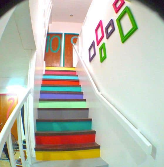 Candy-colored staircase