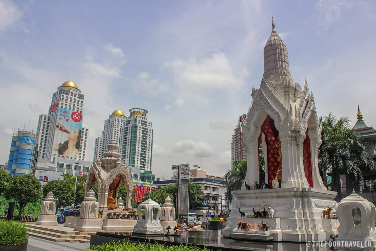 Shrines dedicated to Ganesha and Trimurti in the northeast corner of CentralWorld