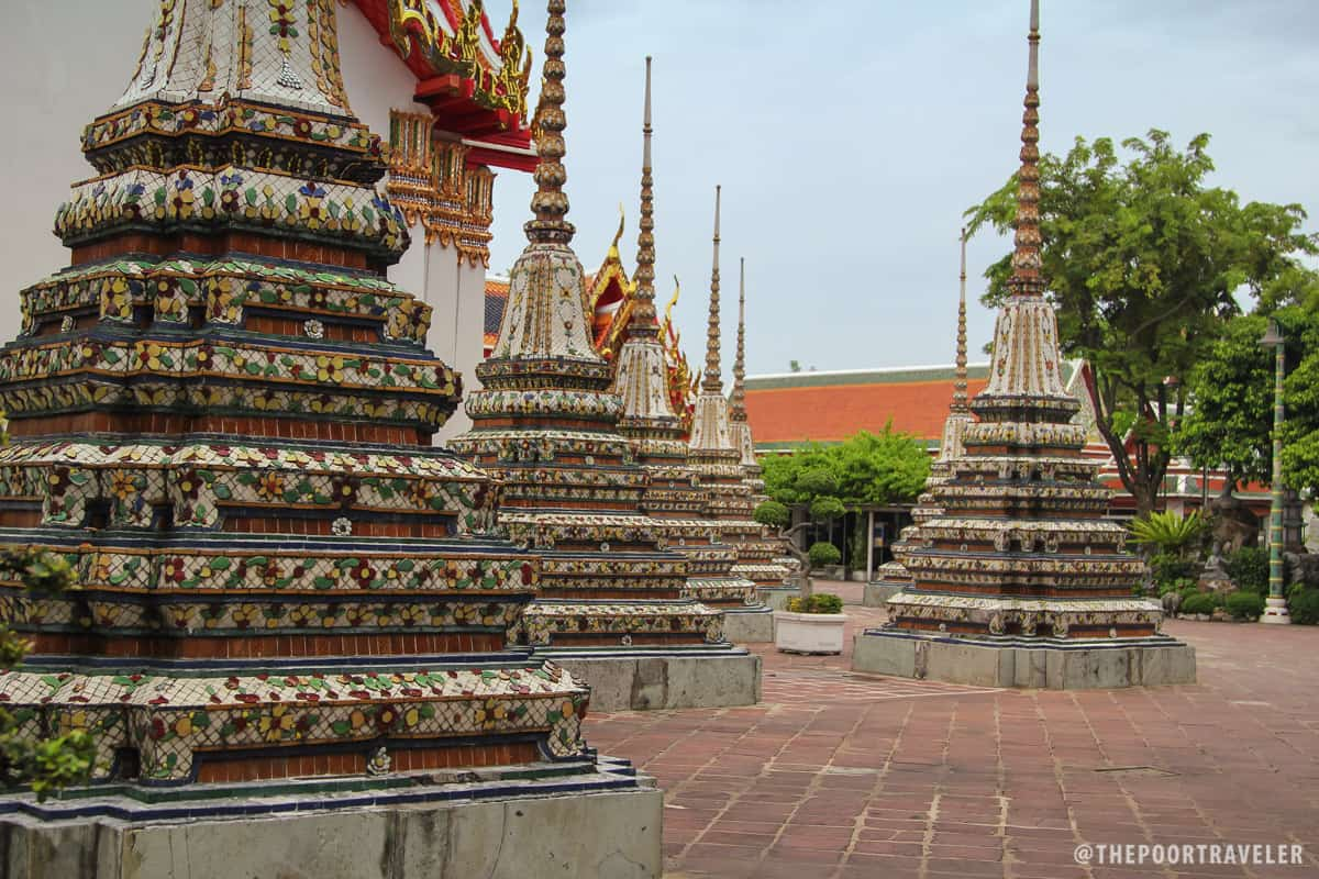 Highly ornate stupas within the temple complex
