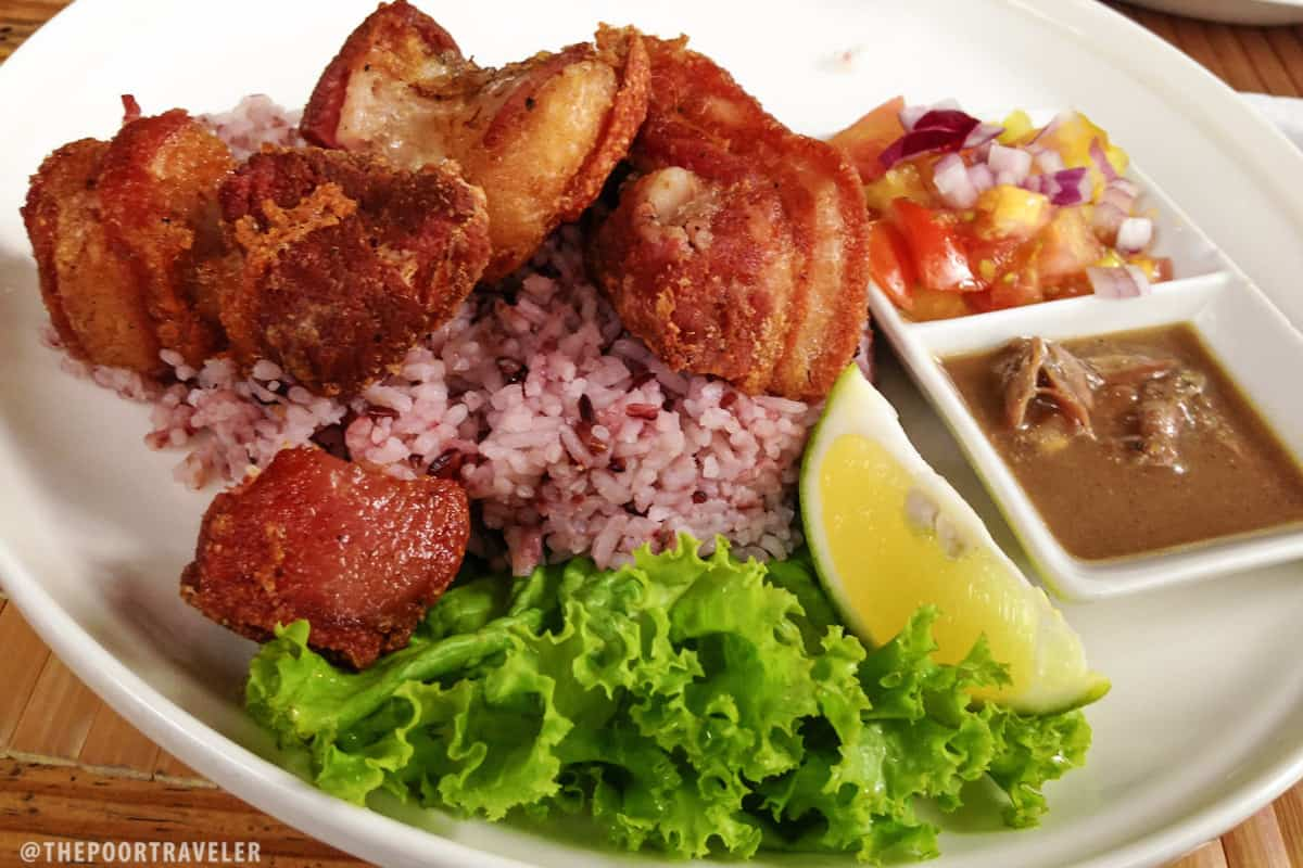 Baguio Bagnet with Padas bagoong, tomato relish, and lime