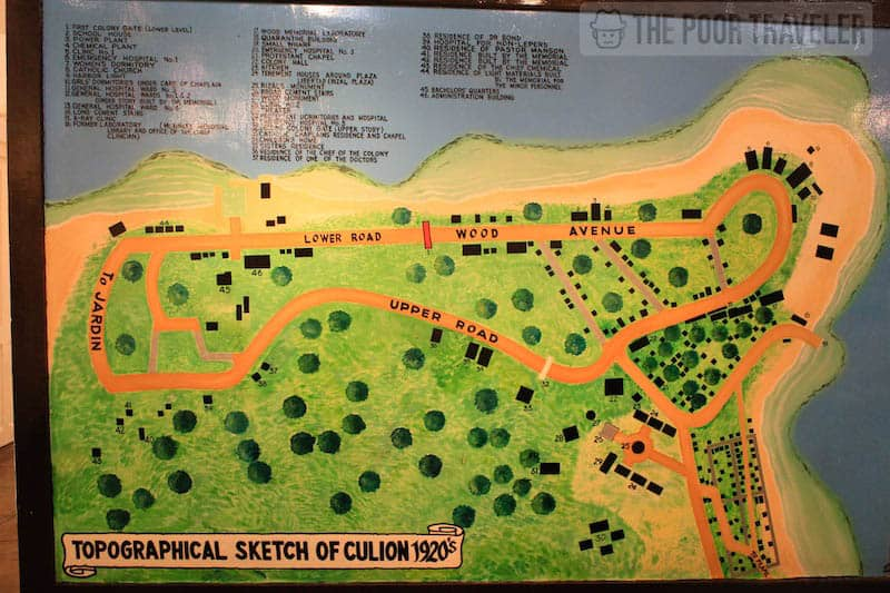 A map of Culion in the 1920s. The town is divided into two: one side was where the patients resided, and the other was where the health workers stayed. Gates (and their arcs still stand today) mark the borders.