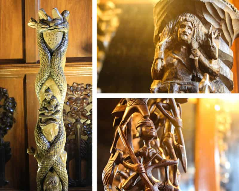 Some of the pieces of bamboo art on display