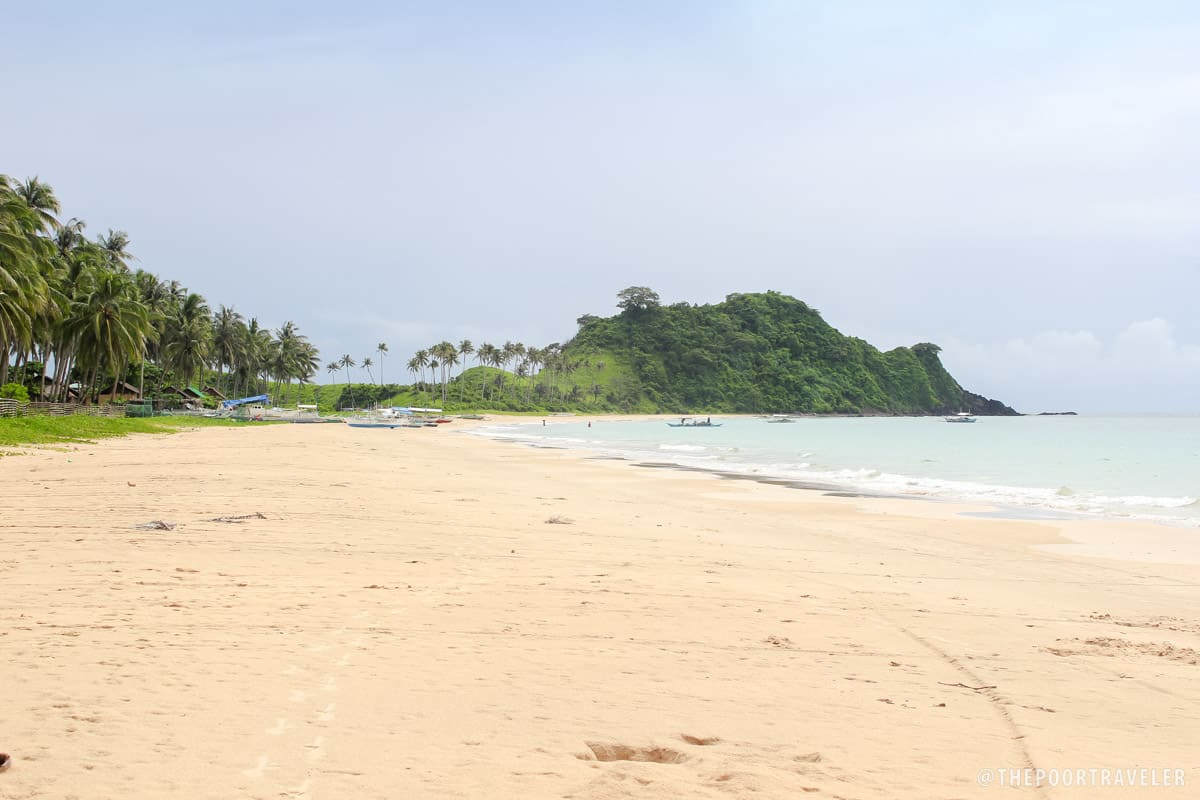 The Southern tip of Nacpan-Calitang Beaches, forming a cape