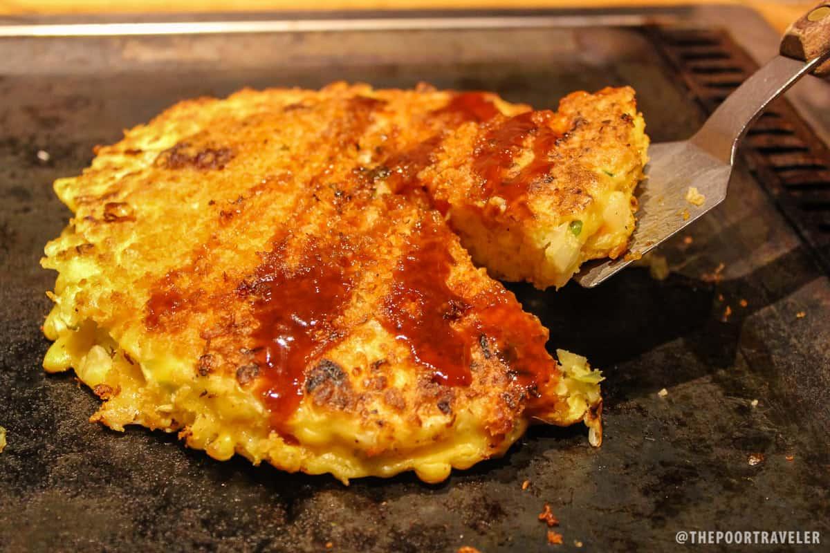 Okonomiyaki: wheat flour, cabbage, and eggs (JPY 819)