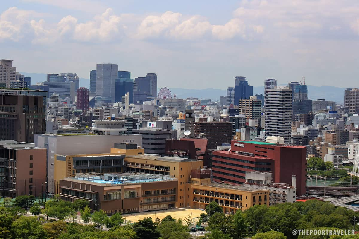 Osaka cityscape as viewed from the top floor of Osaka Castle
