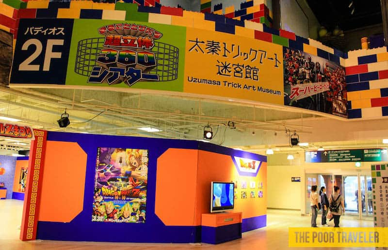 A Dragon Ball Z Exhibit below the Trick Art Museum