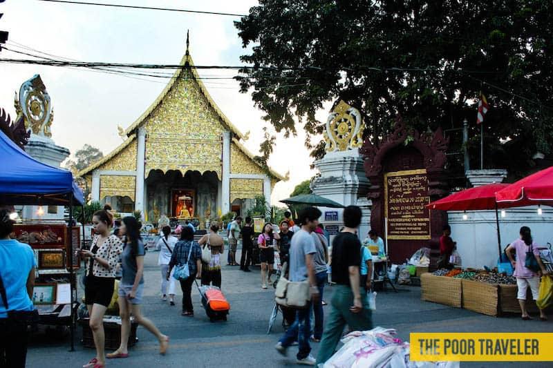 Wat Chedi Luang grounds near the night market