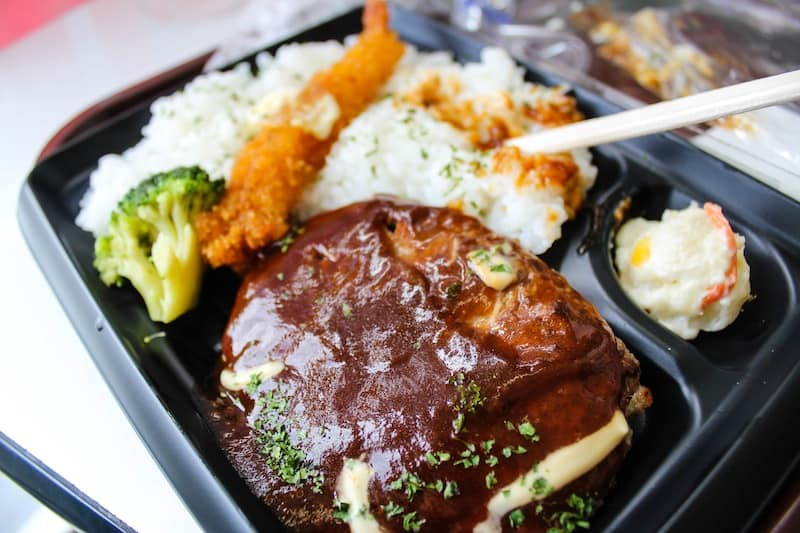 Hamburg Steak meal from a convenience store (JPY 398)
