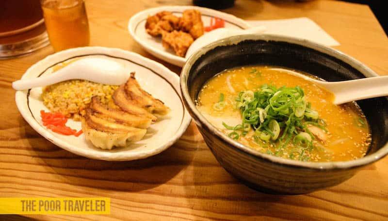 Miso ramen with Gyouza and Chicken Karaage