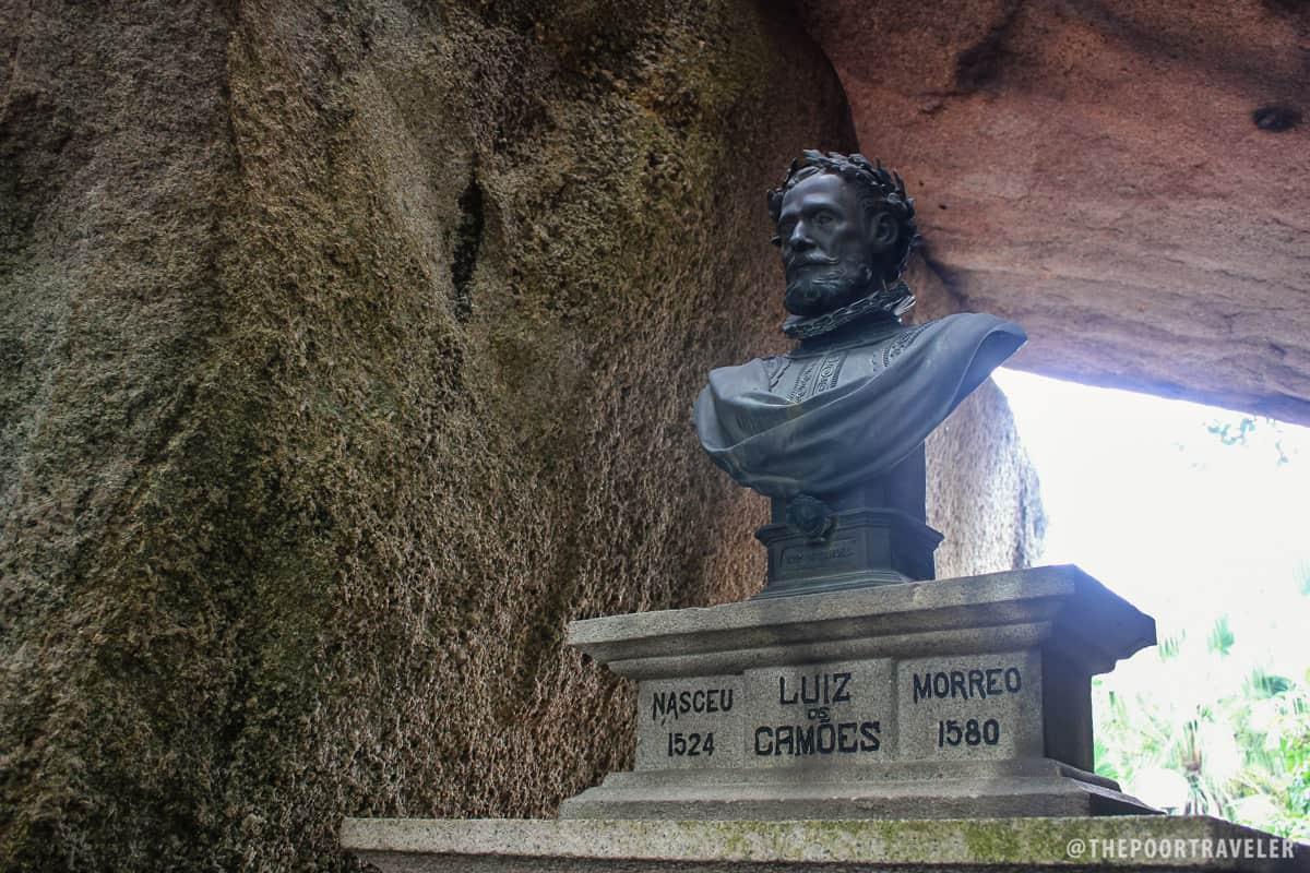 Bust of Portuguese poet Luis de Camoes