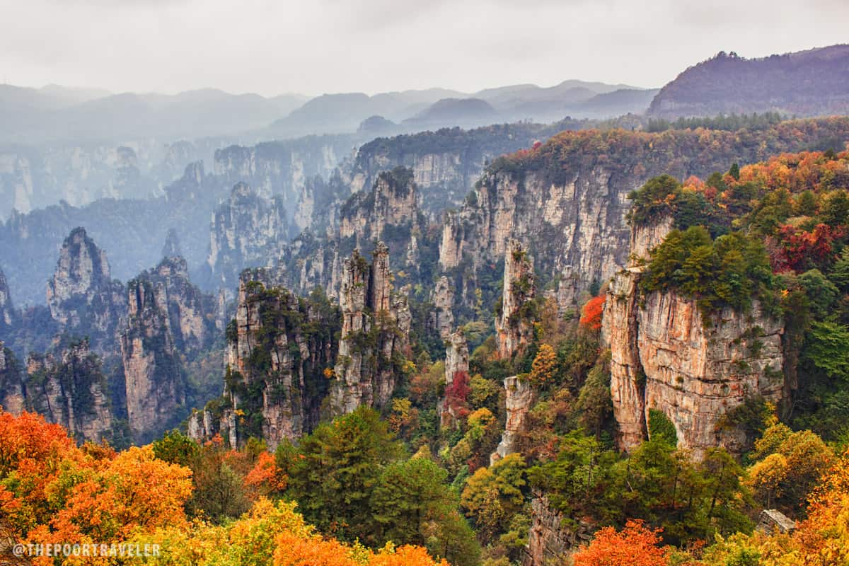 Tianzi Mountain in mid-autumn