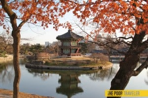 A pagoda inside the Gyeongbokgung Palace grounds in Seoul