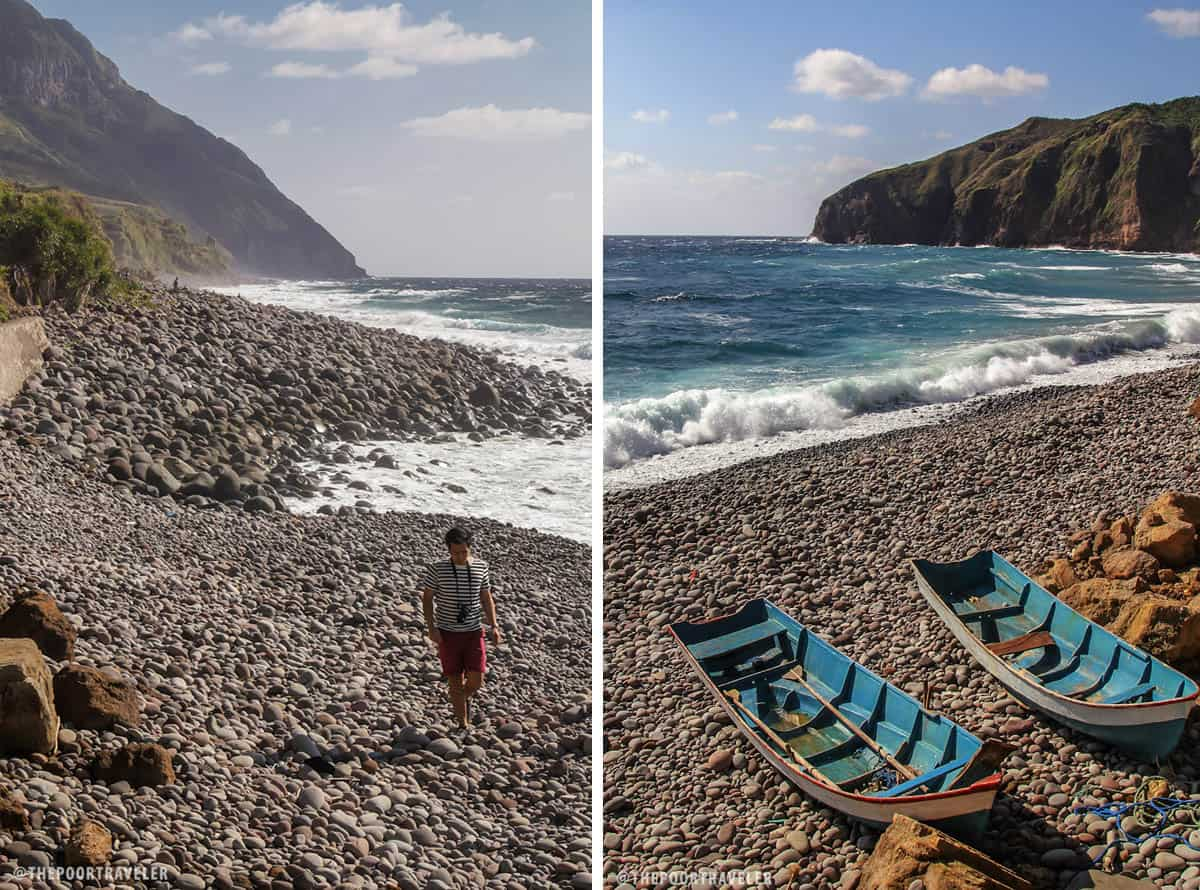 The southern end of Valugan Beach is strewn with smaller pebbles