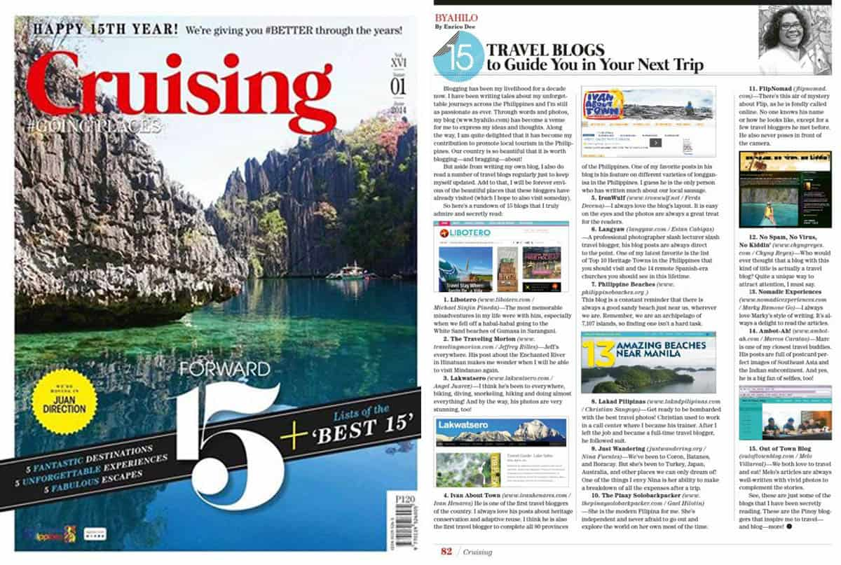 """15 Travel Blogs to Guide You on Your Next Trip"" Cruising Magazine, June 2014"