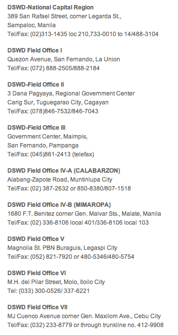 Below is the complete list of DSWD Field Offices. (As of April 2014):