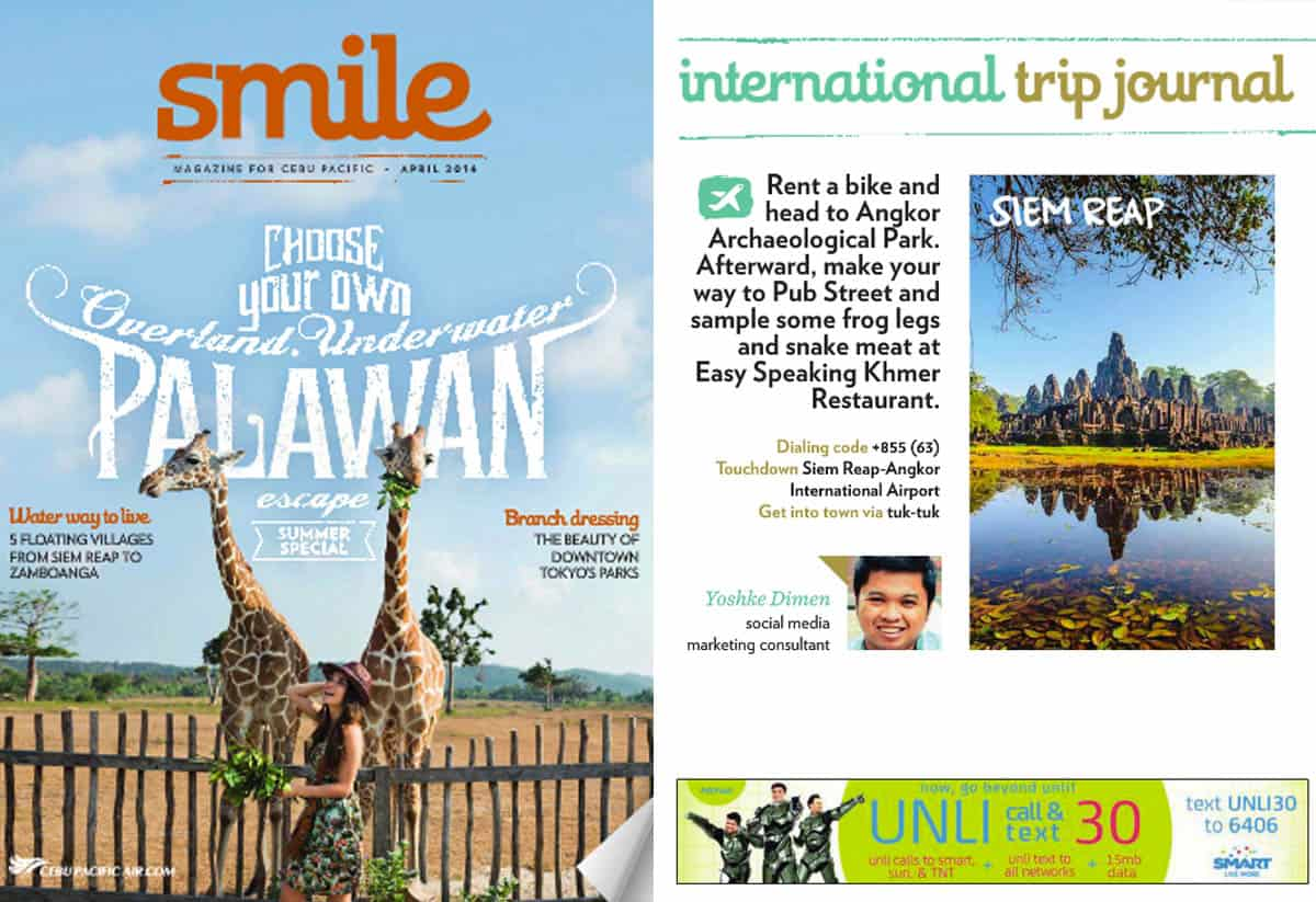"""Trip Journal: Siem Reap"" Smile Magazine (Cebu Pacific), April 2014"