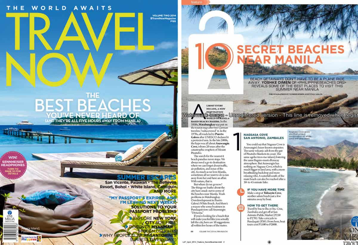 """10 Secret Beaches Near Manila"" Travel Now, April-May 2014"