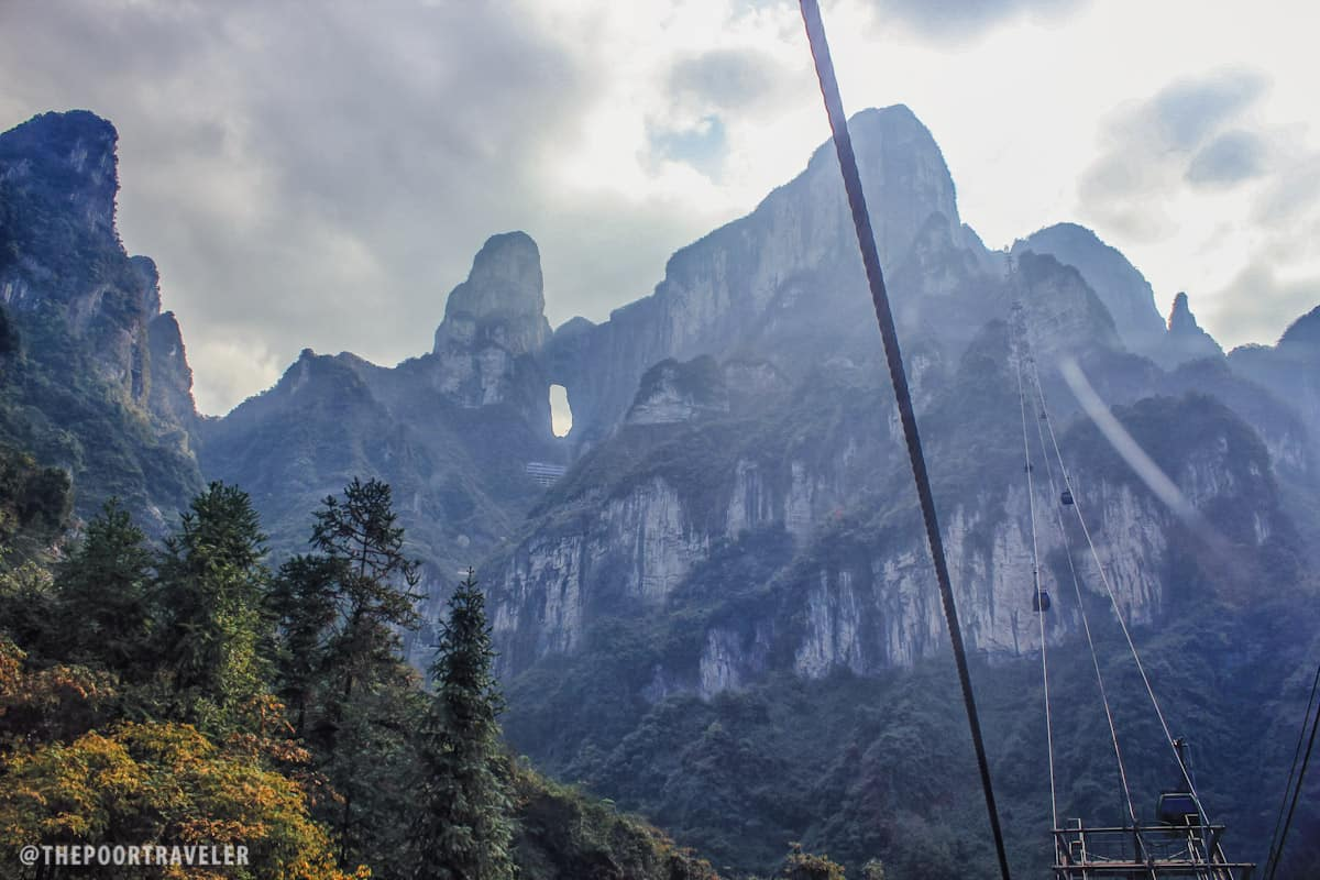 Tianmen Cave (Gateway to Heaven) as seen from the base of the mountain!