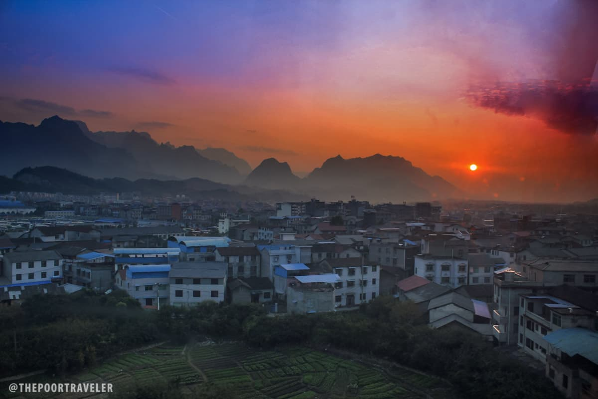 The city of Zhangjiajie during sunset