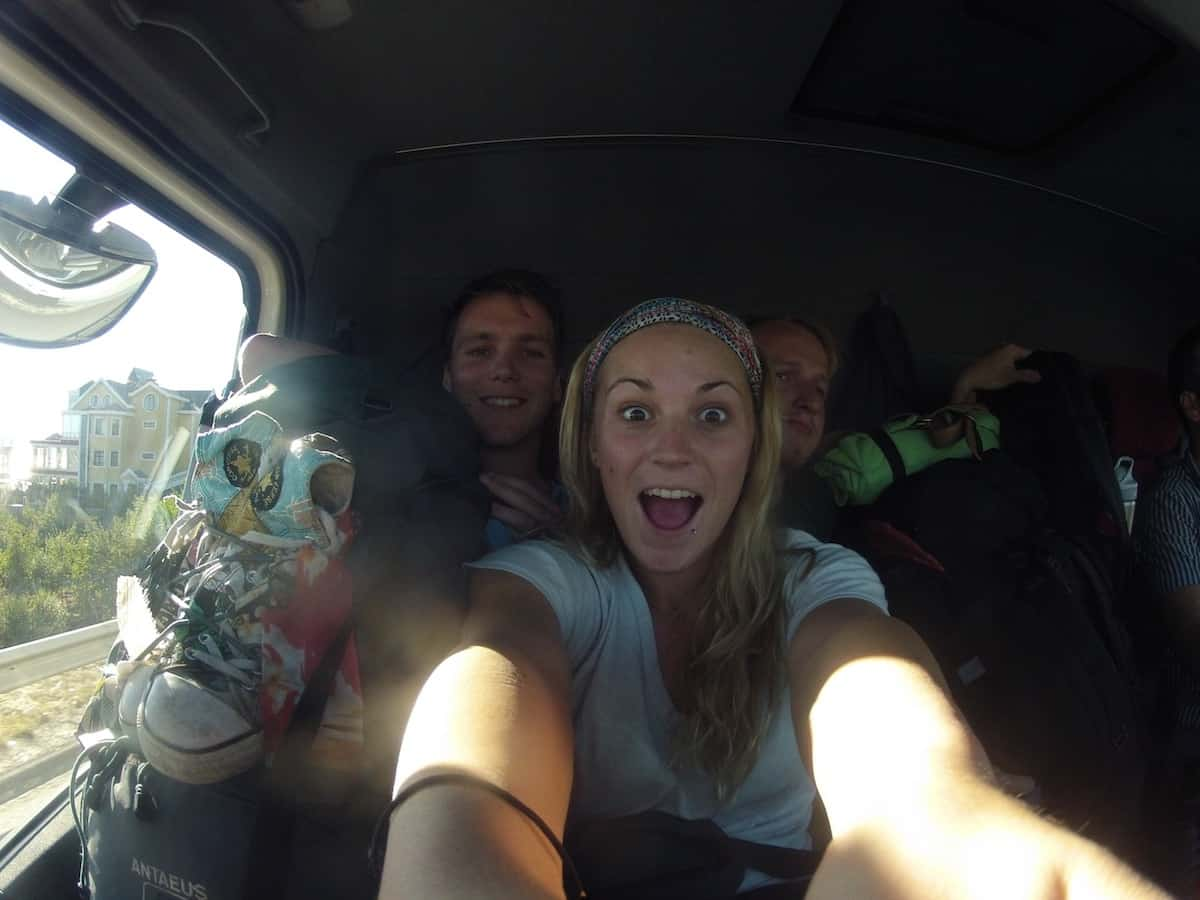 3 Hitchhikers in one small van in Turkey