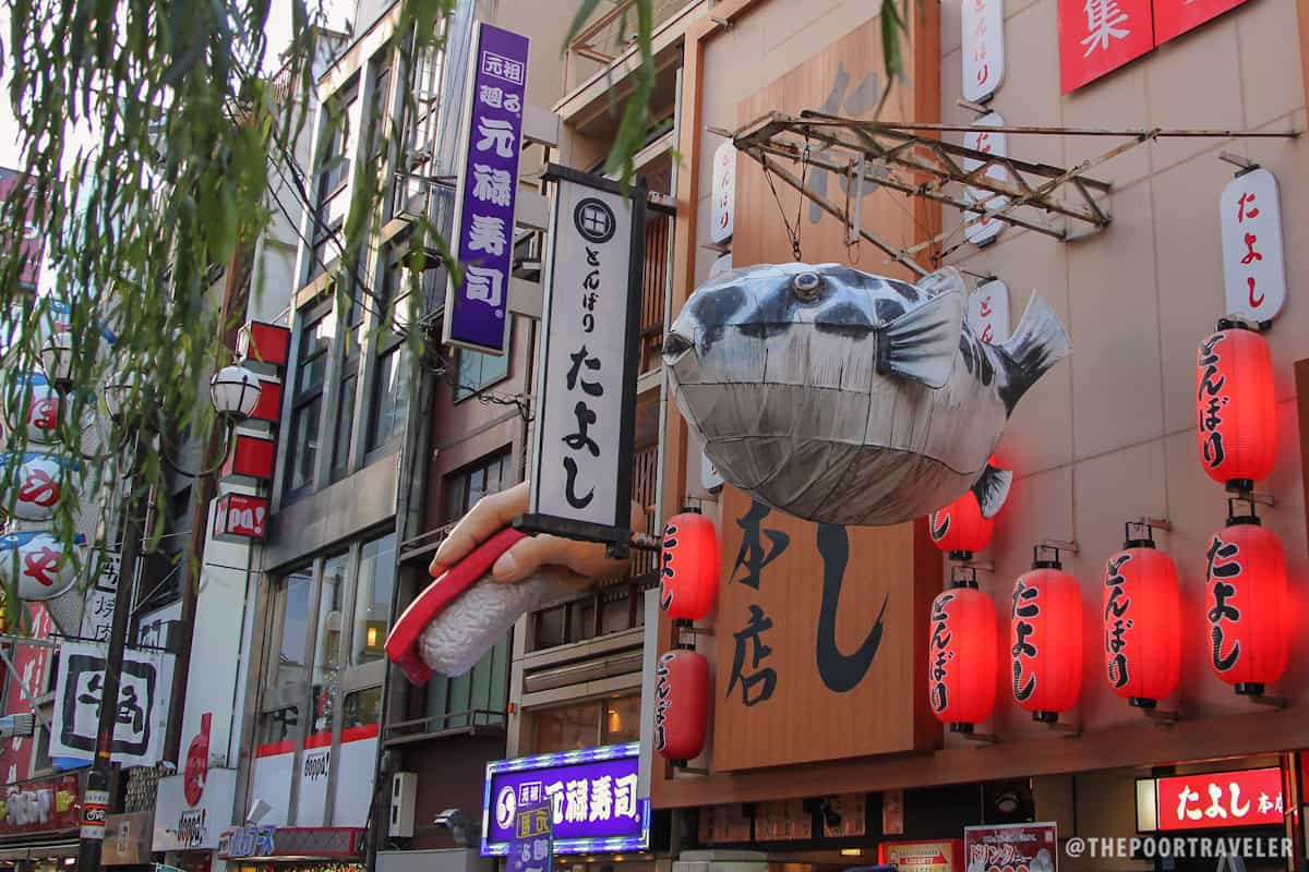 A giant pufferfish lantern hovering above the main street