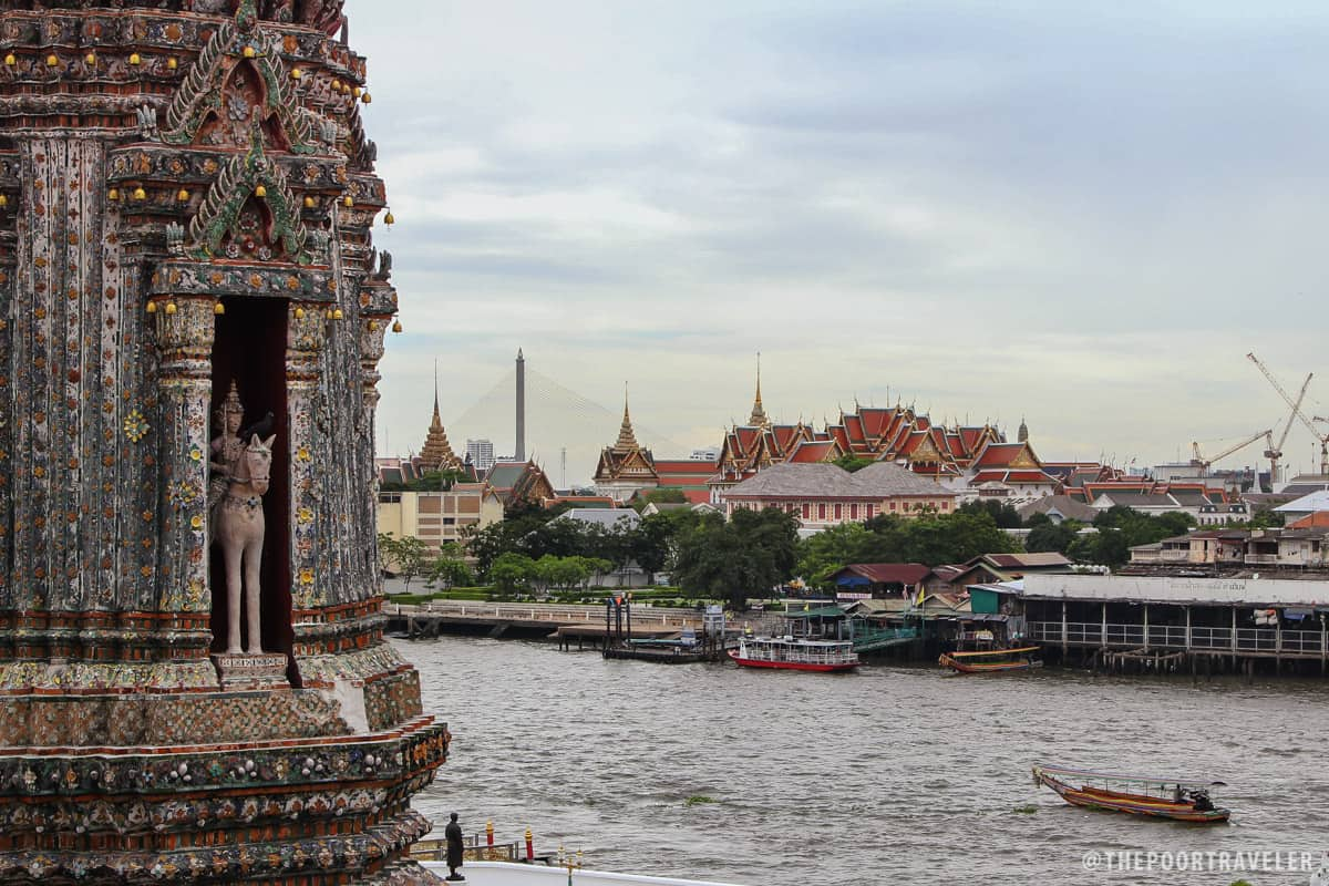 View of the Grand Palace from the top of the spire of Wat Arun