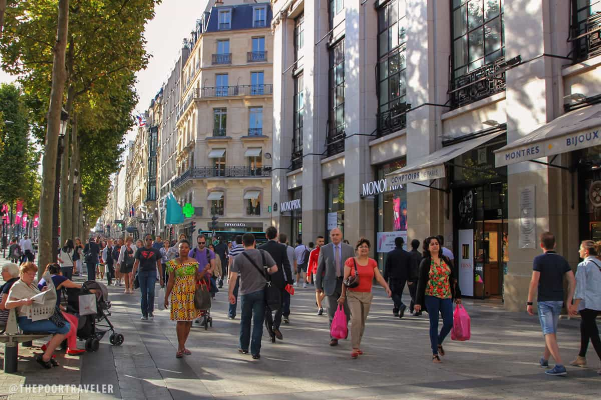 Champs Elysees is flanked by fashion shops and boutiques.