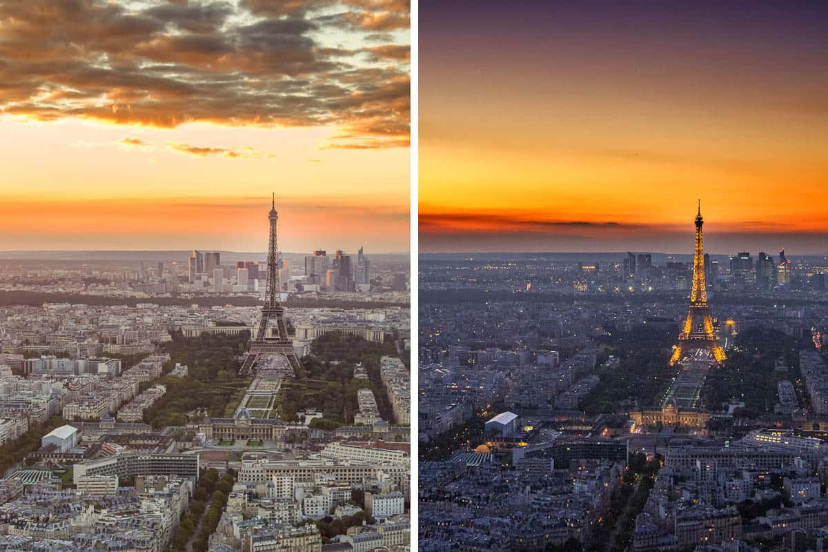 The Eiffel Tower at sunset and nightfall.