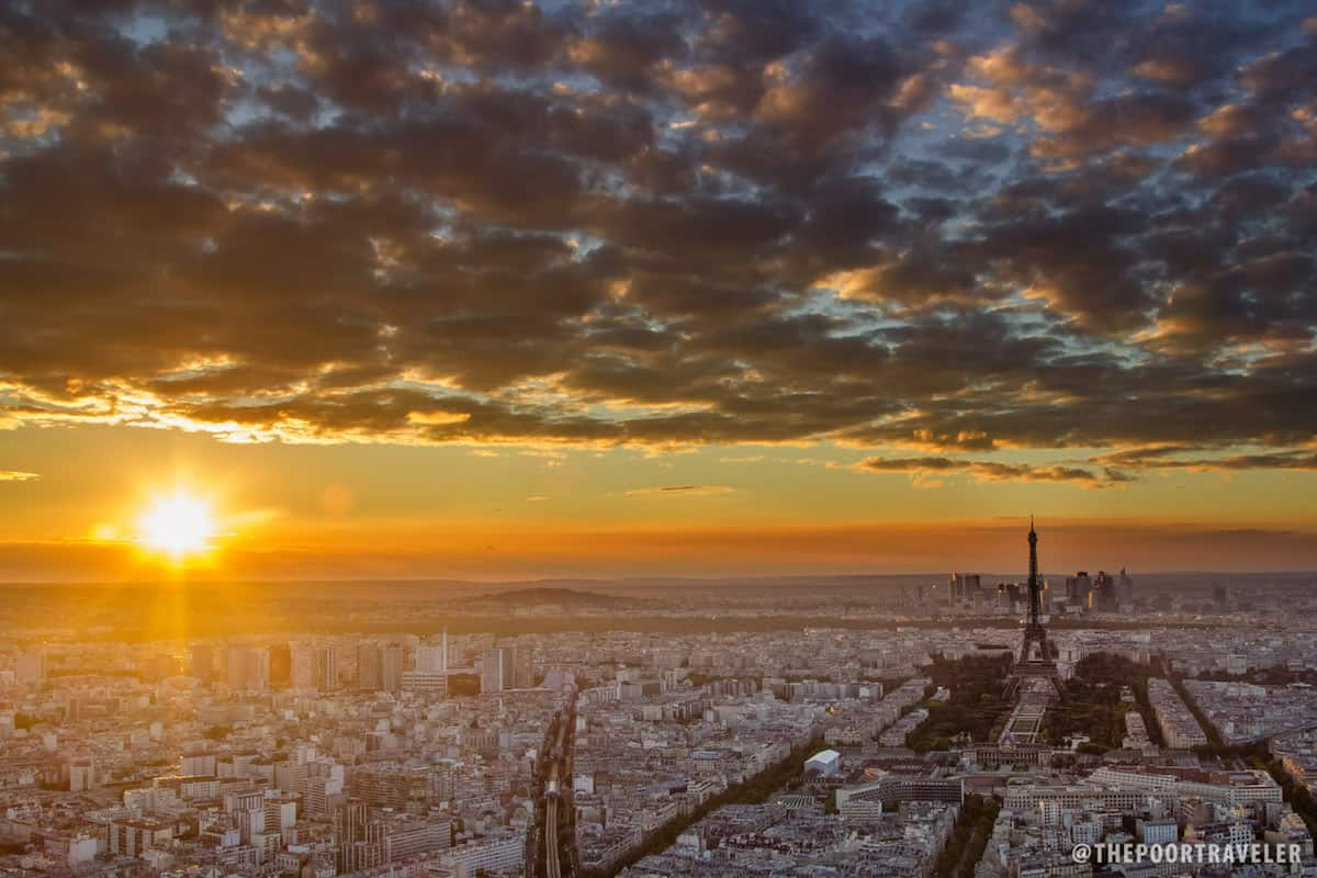 View of the sunset from the Montparnasse 56