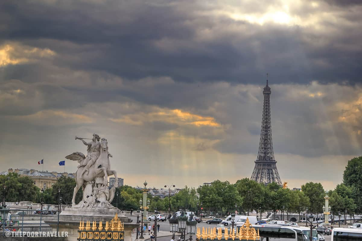 View of the Eiffel Tower from one edge of the Tuileries Garden