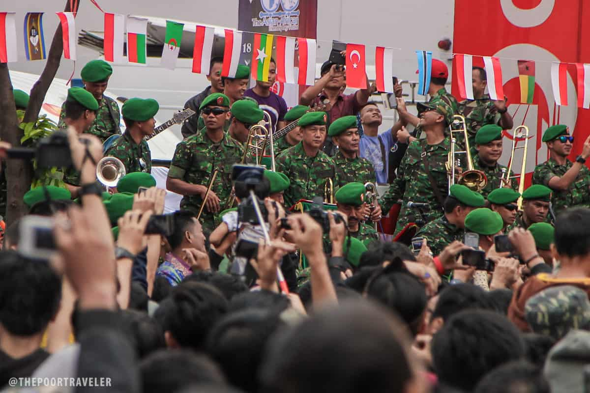 A military band playing Indonesia's most popular songs.