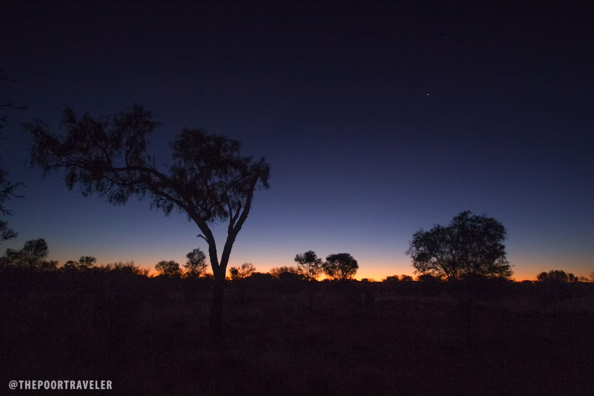 The afterglow of the sunset in the middle of the Australian Outback.