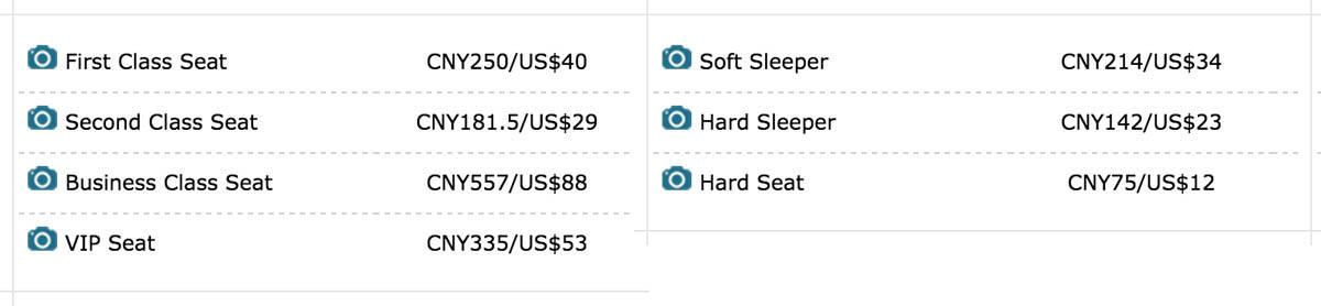 China Trains Seats