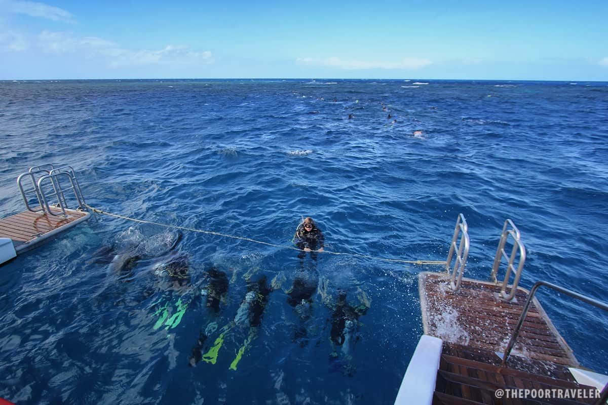 Scuba Diving beginners having their first dip at the outer barrier of the Great Barrier Reef.