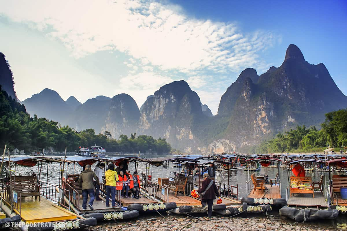 The wharf at Yangdi Village marks the start of the bamboo raft trail.