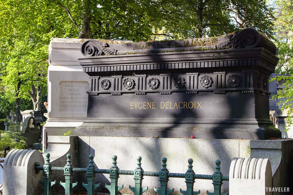 Tomb of Eugene Delacroix,  a French Romantic artist often considered the leader of the French Romantic school.