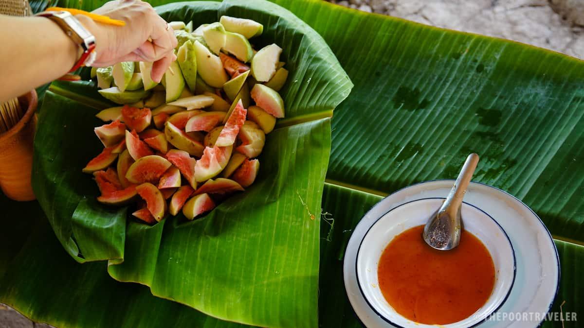 Organically grown guavas with organic palm sugar with chili dip