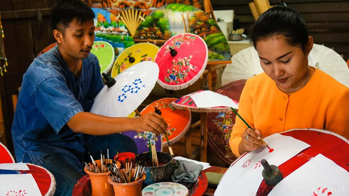 Thai Village colorful umbrella painting.